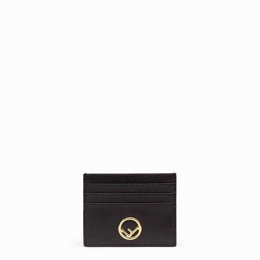 FENDI CARD HOLDER - Flat black leather card holder - view 1 detail