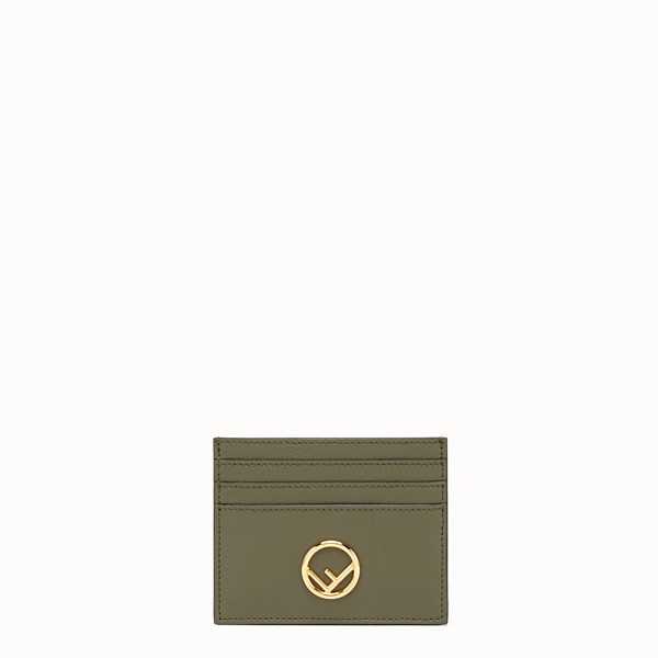 FENDI CARD HOLDER - Green leather flat card holder - view 1 small thumbnail