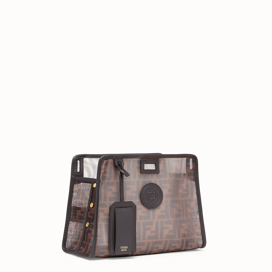 FENDI SMALL PEEKABOO DEFENDER - Brown mesh Peekaboo cover - view 2 detail