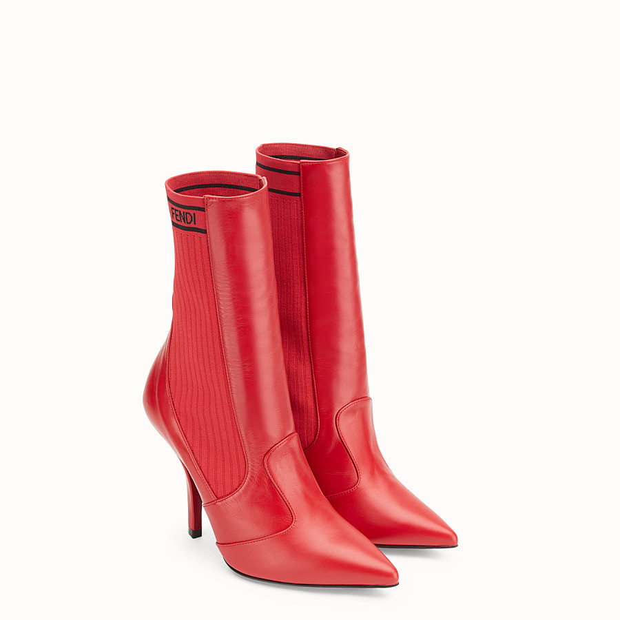 FENDI BOOTS - Bootie in red leather - view 4 detail