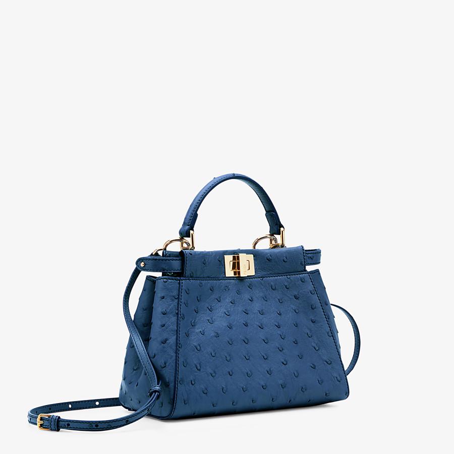 FENDI PEEKABOO ICONIC MINI - Blue ostrich leather bag - view 2 detail