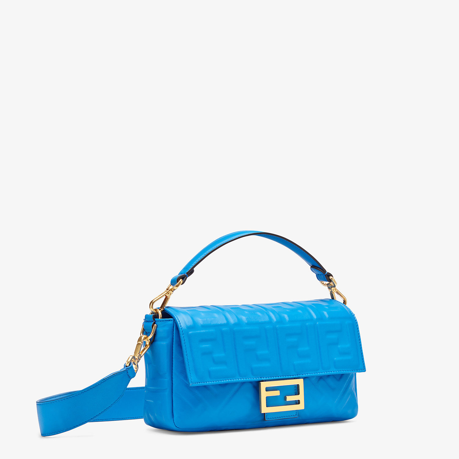 FENDI BAGUETTE - Blue leather bag - view 3 detail