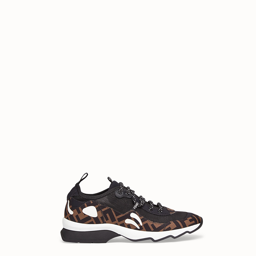 FENDI SNEAKERS - Brown technical mesh sneaker - view 1 detail