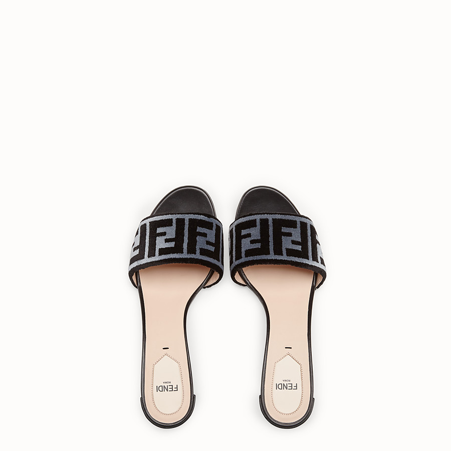 FENDI SLIDES - Multicolour fabric sandals - view 4 detail