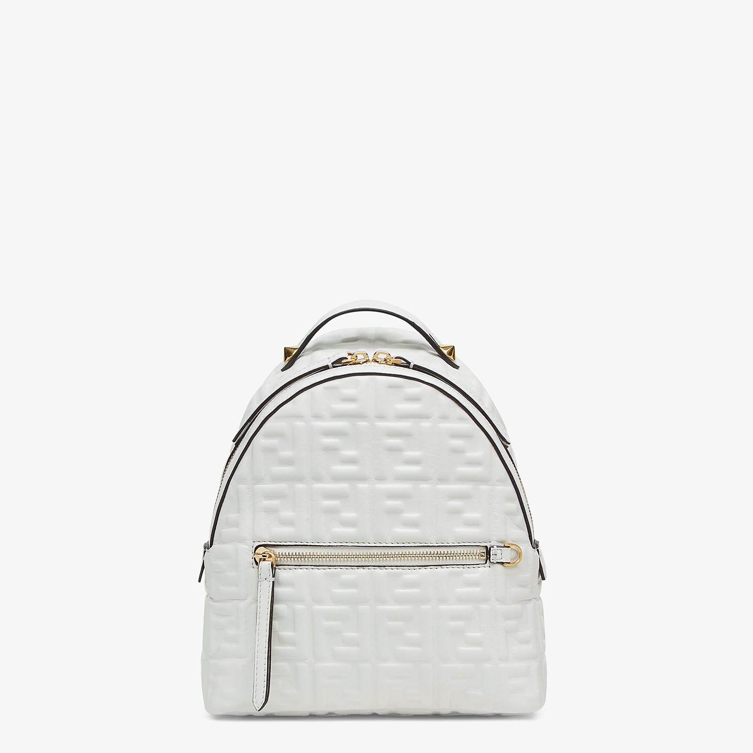 FENDI MINI BACKPACK - White FF leather backpack - view 1 detail