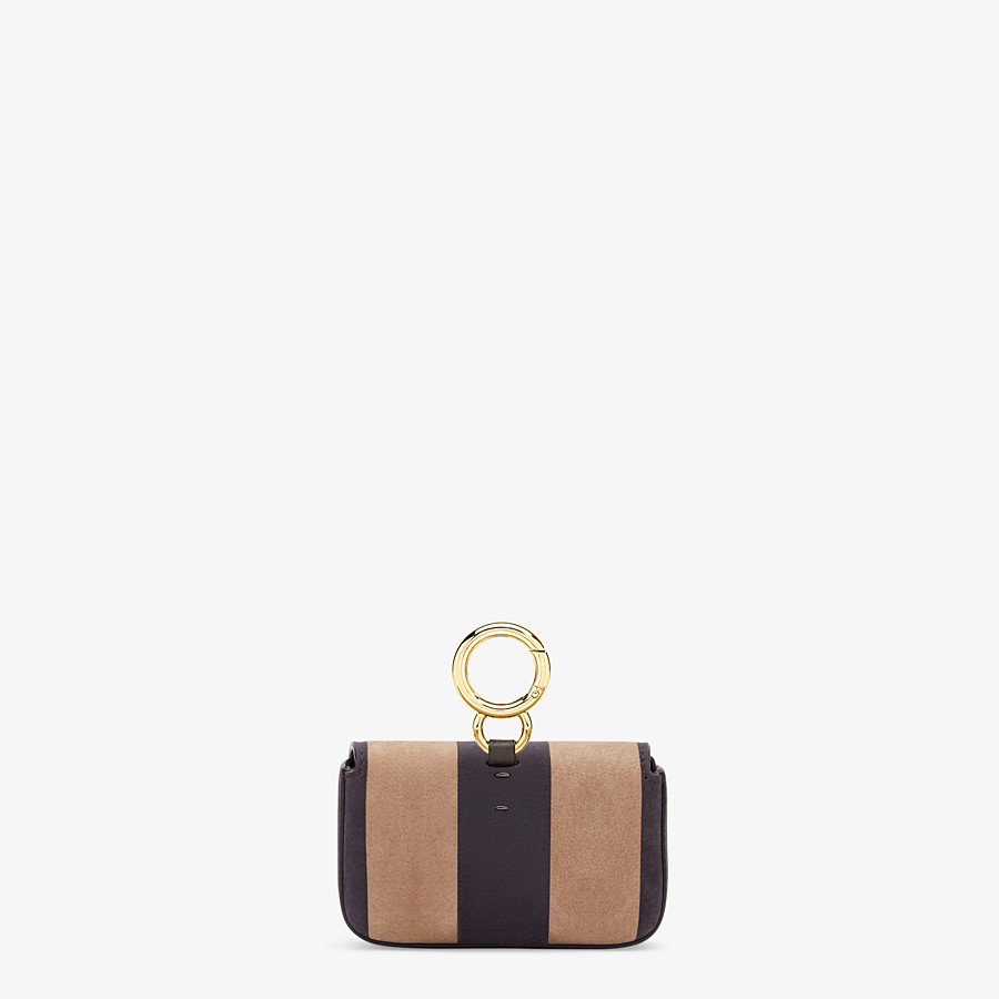 FENDI NANO BAGUETTE - Charm in brown nubuck leather - view 3 detail