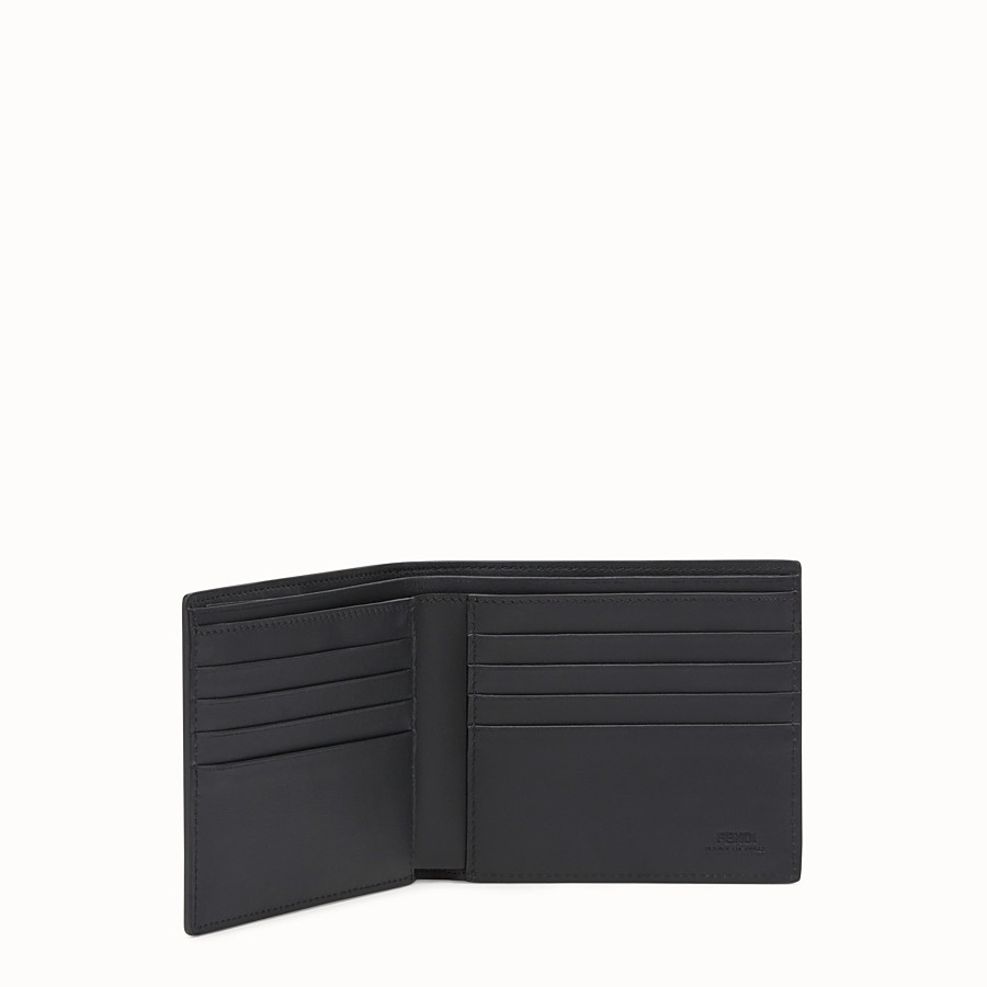 FENDI WALLET - Black leather and alligator bi-fold wallet - view 3 detail