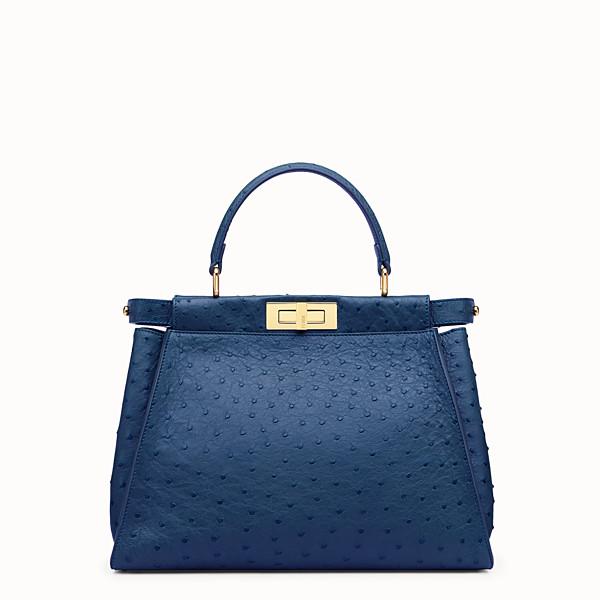 FENDI PEEKABOO REGULAR - Blue ostrich leather handbag. - view 1 small thumbnail