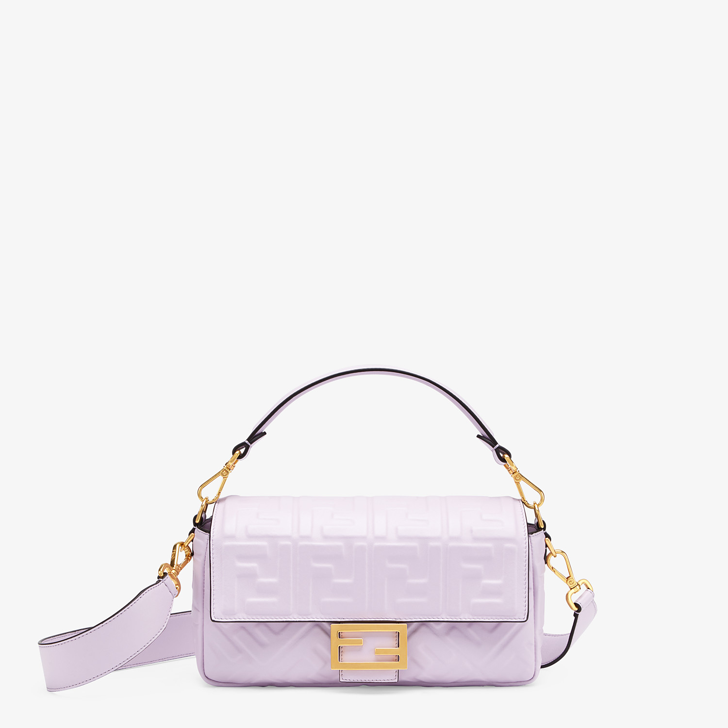 FENDI BAGUETTE - Lilac nappa leather FF Signature bag - view 1 detail