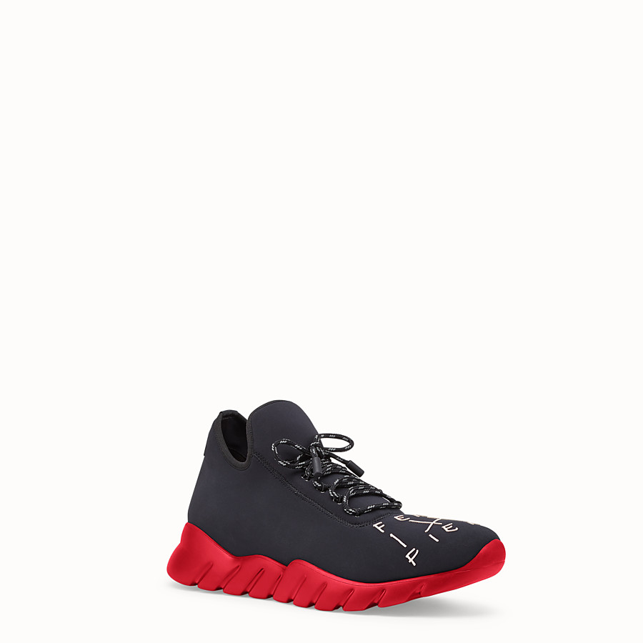 FENDI SNEAKERS - Black fabric high-tops - view 2 detail