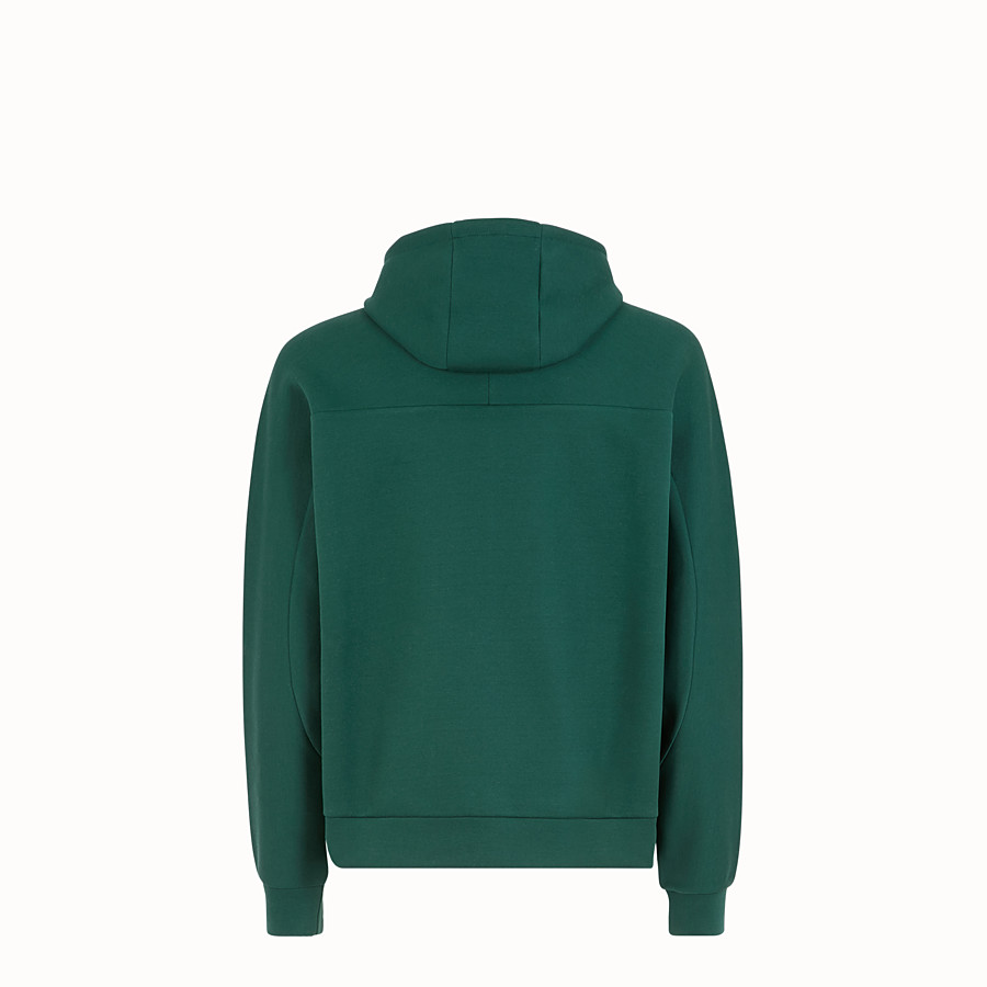 FENDI SWEATSHIRT WITH HOOD - Green cotton sweatshirt - view 2 detail