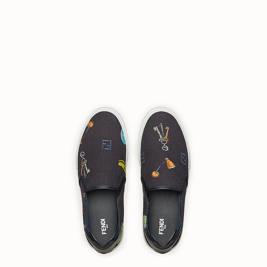 FENDI SNEAKER - Slip on in canvas blu - vista 4 dettaglio