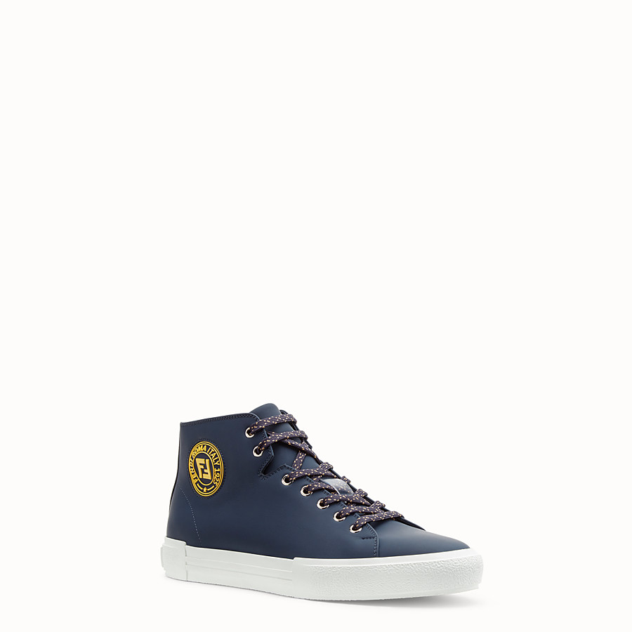 FENDI SNEAKERS - Blue leather high-tops - view 2 detail