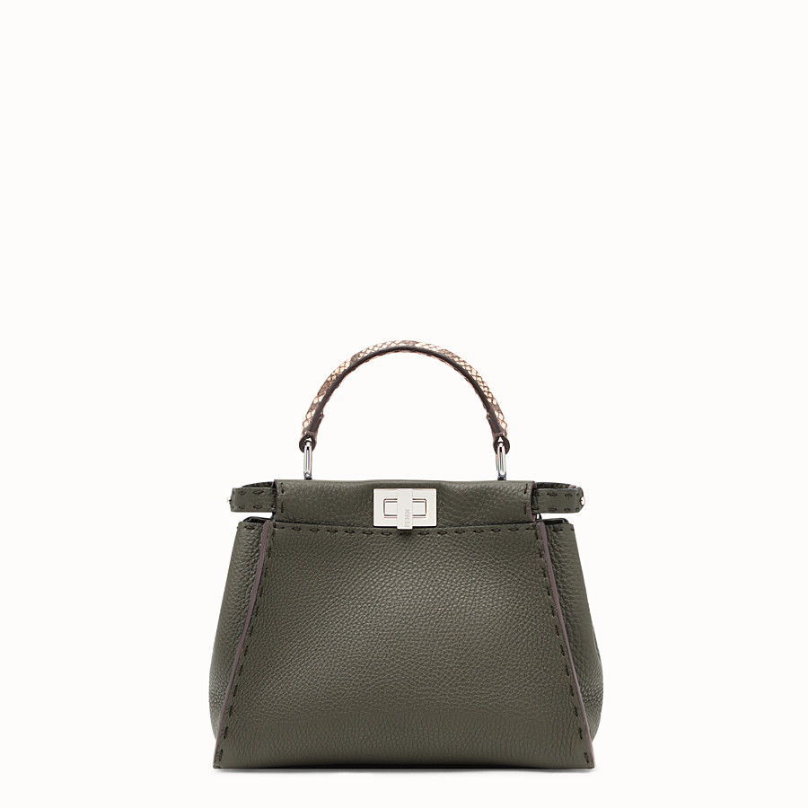 FENDI PEEKABOO MINI - Green leather bag with exotic details - view 1 detail
