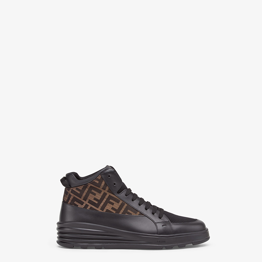 FENDI SNEAKERS - Black leather mid-top - view 1 detail
