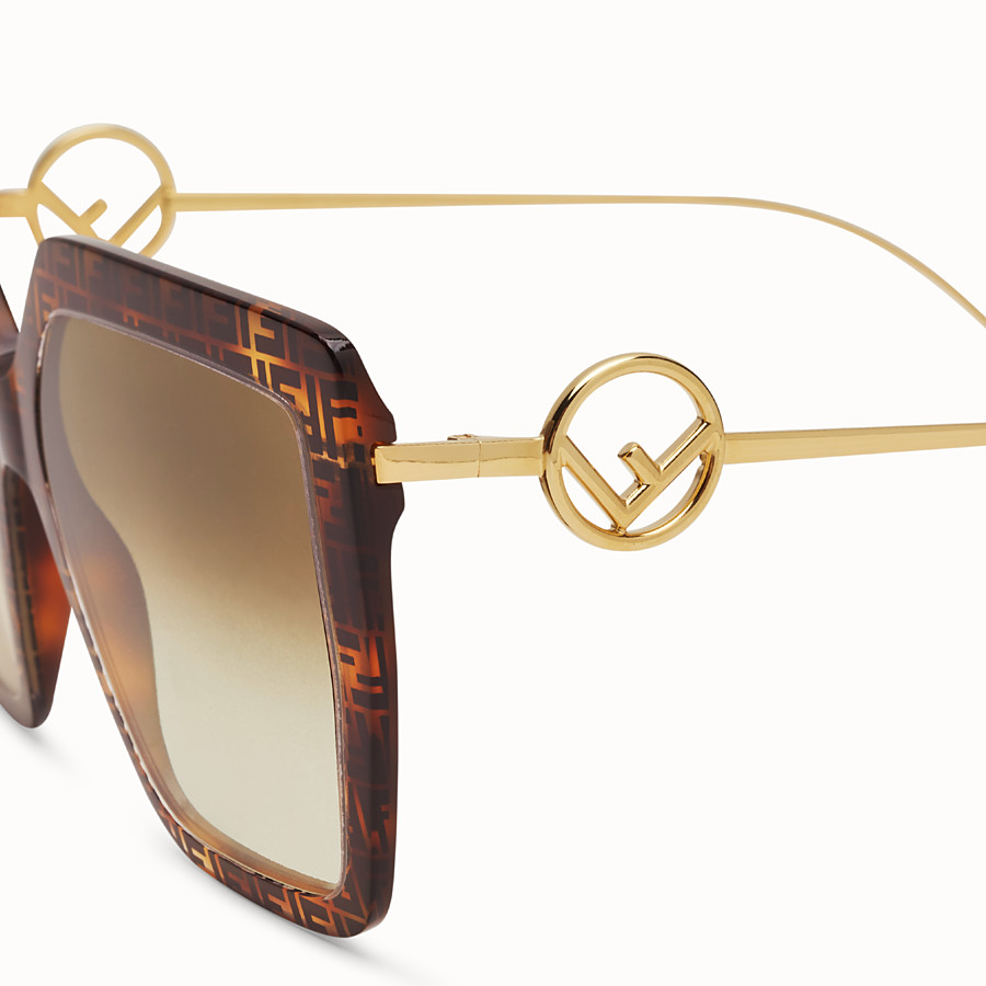 FENDI F IS FENDI - FF Havana acetate and metal sunglasses - view 3 detail