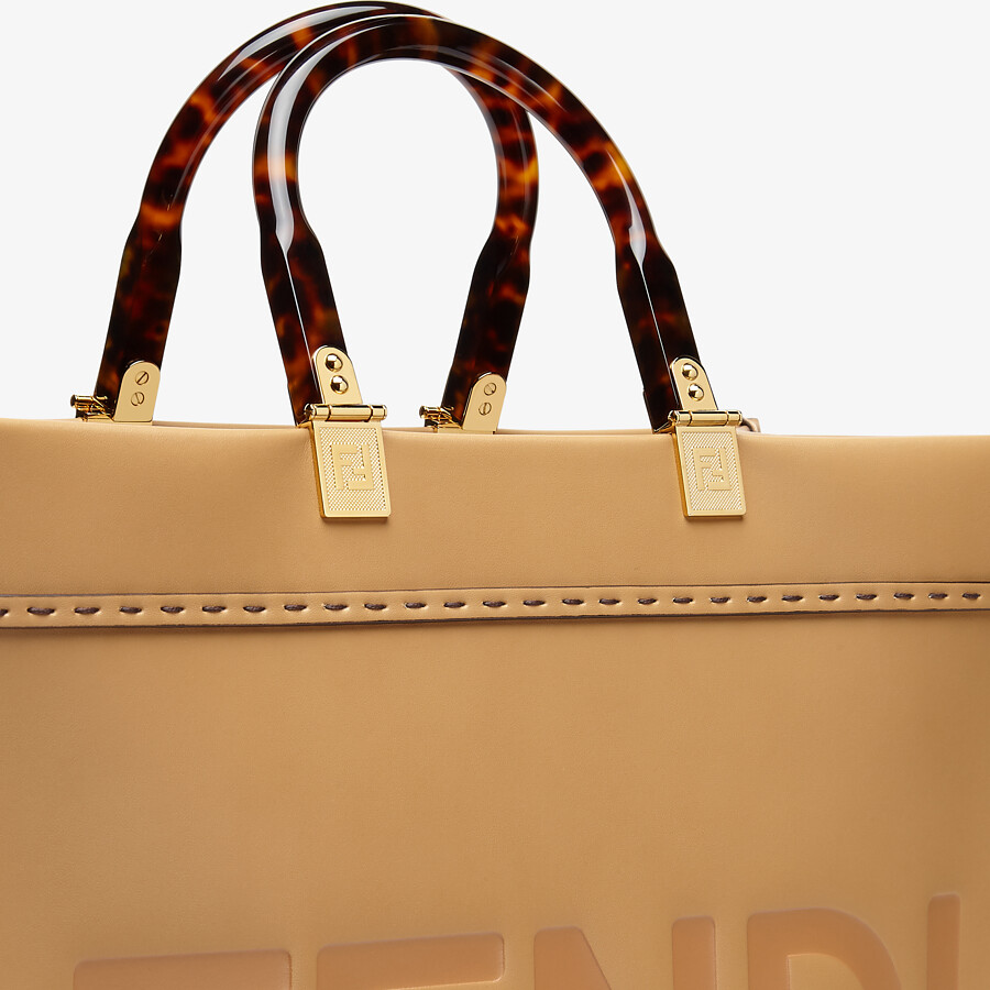 FENDI MEDIUM FENDI SUNSHINE - Beige leather shopper bag - view 6 detail
