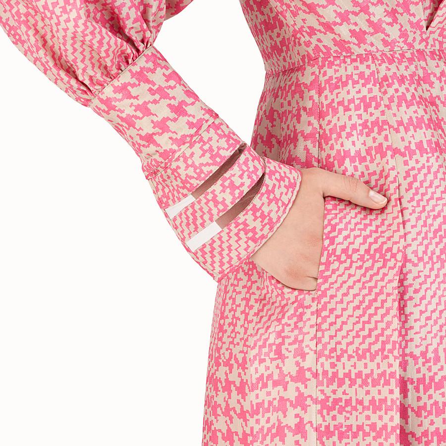 FENDI MIDI DRESS - Fuchsia Glen plaid silk dress - view 3 detail