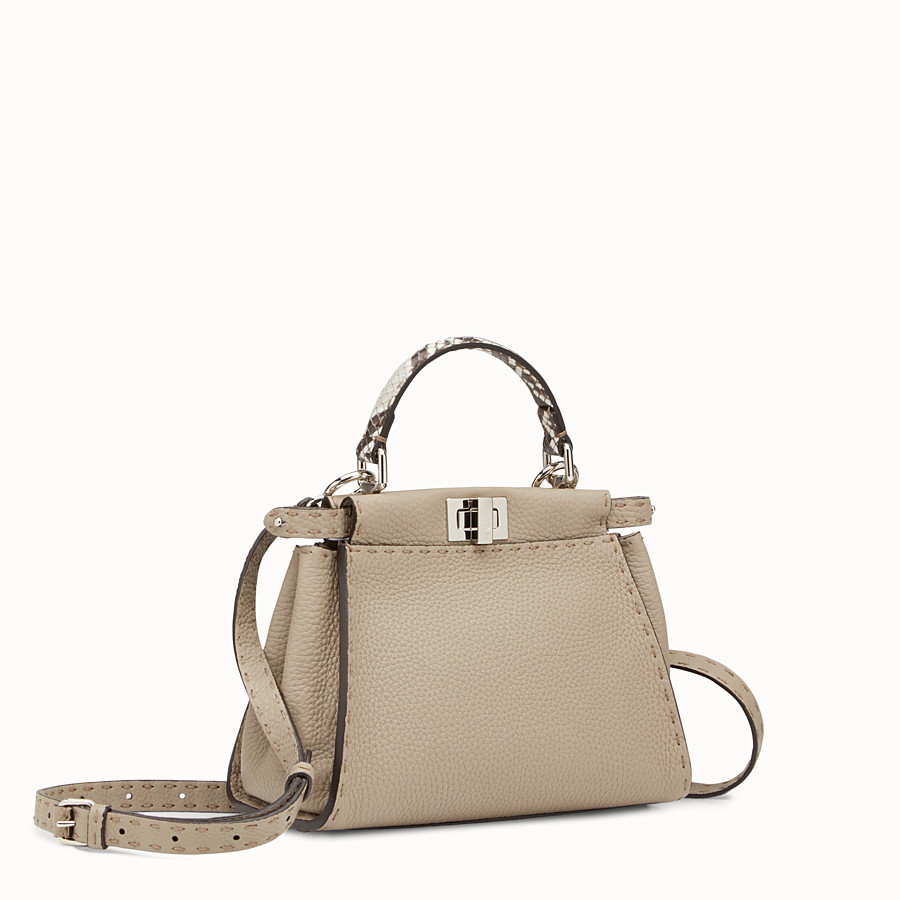 FENDI PEEKABOO MINI - Dove-grey Selleria handbag - view 2 detail