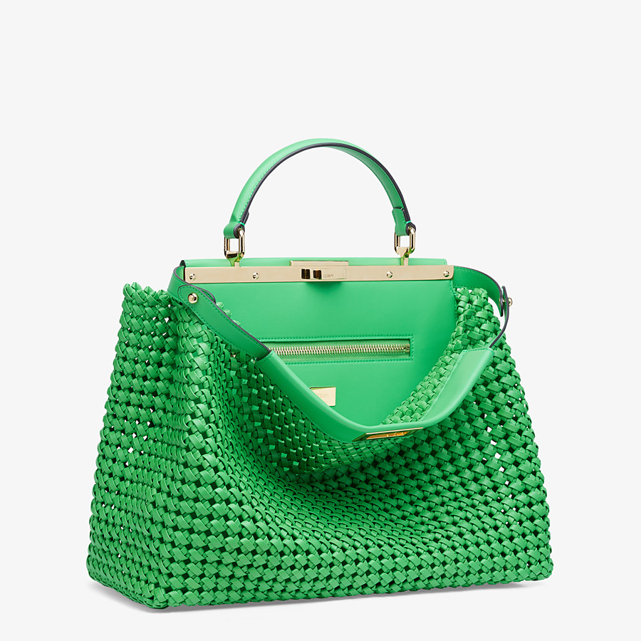 FENDI PEEKABOO ICONIC LARGE - Green leather interlace bag - view 3 detail