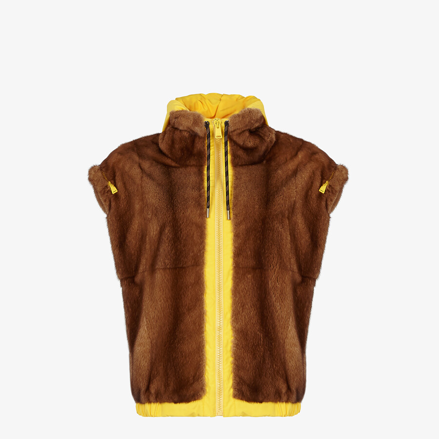 FENDI VEST - Mink and yellow nylon gilet - view 1 detail