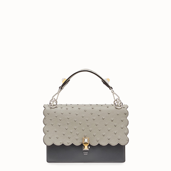 FENDI KAN I - Gray leather bag with exotic details - view 1 small thumbnail