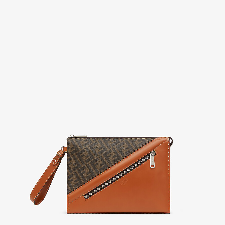 FENDI FLAT POUCH - Brown fabric pouch - view 1 detail