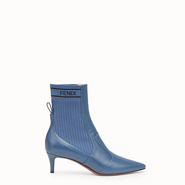 FENDI TRONCHETTO - Bootie in pelle blu - vista 1 thumbnail piccola