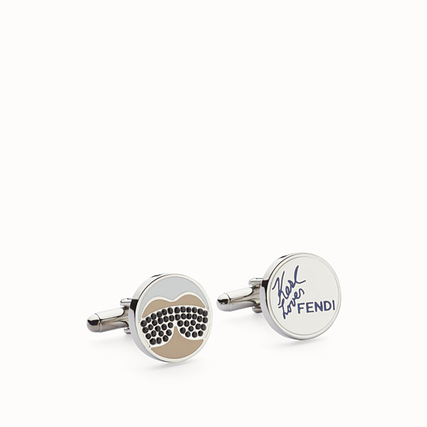 FENDI CUFFLINKS - Polished metal cufflinks with fur - view 1 small thumbnail