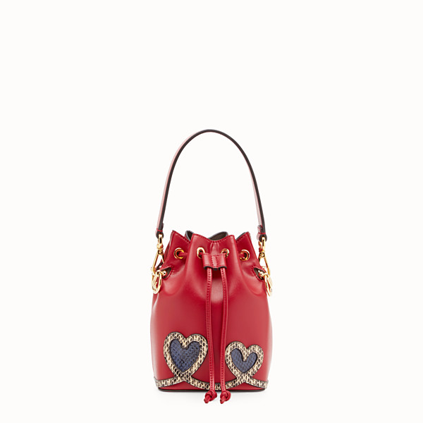 FENDI MON TRESOR - Red leather mini-bag with exotic details - view 1 small thumbnail