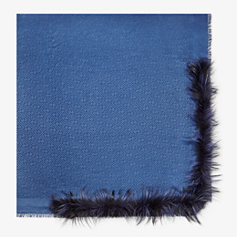 FENDI TOUCH OF FUR SHAWL - Blue silk and wool shawl - view 1 thumbnail