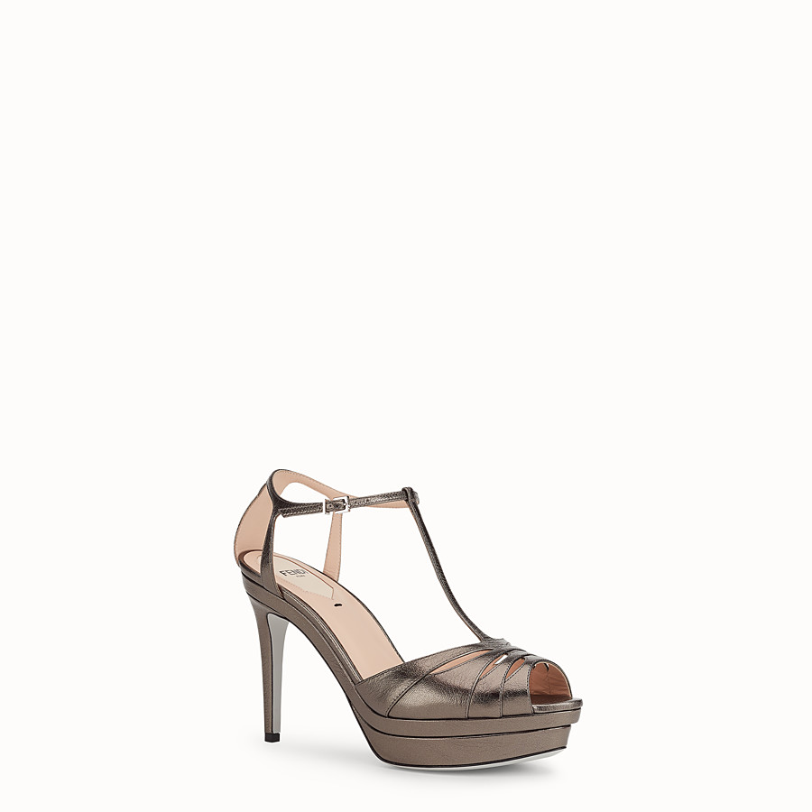 FENDI SANDALS - Grey leather high-heel sandals - view 2 detail