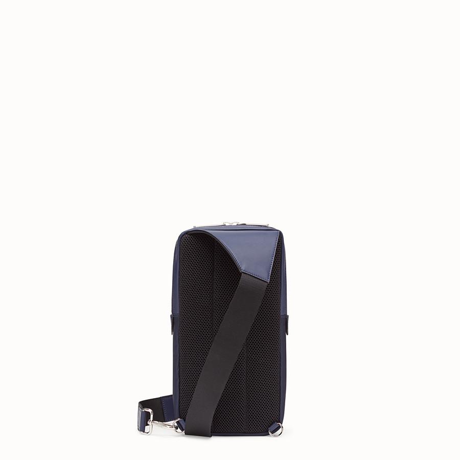 FENDI BELT BAG - One-shoulder backpack in blue leather and nylon - view 3 detail