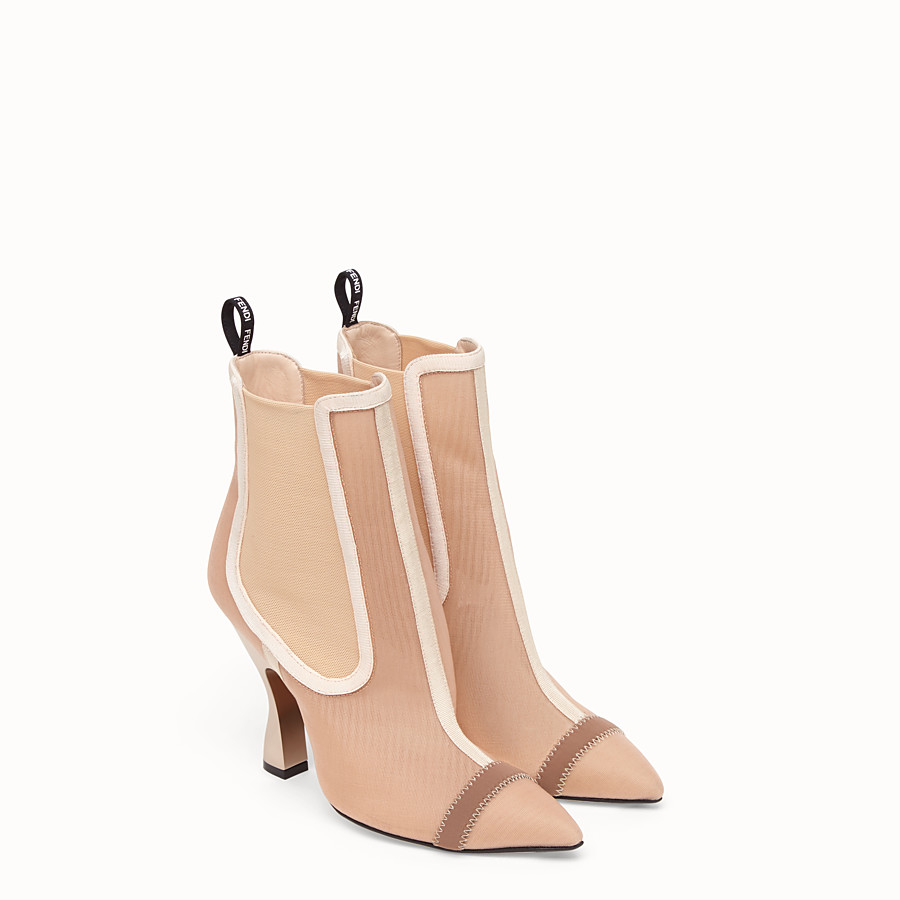 FENDI BOOTS - Beige mesh booties - view 4 detail