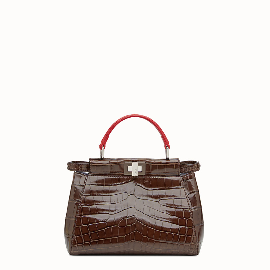 FENDI PEEKABOO MINI - Brown crocodile leather handbag. - view 1 detail