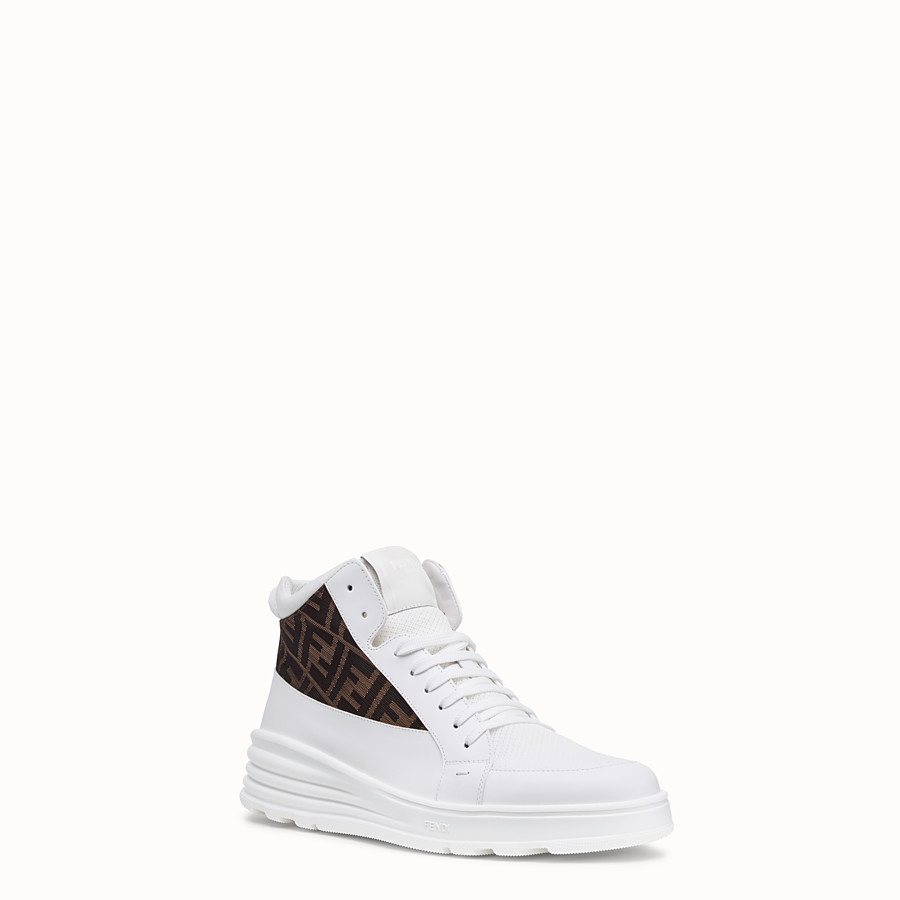 FENDI SNEAKERS - White leather mid tops - view 2 detail