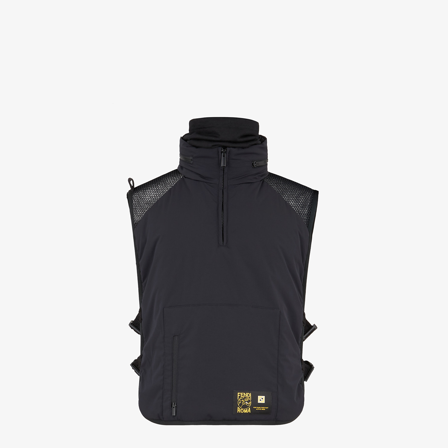 FENDI VEST - Black tech fabric bib - view 1 detail
