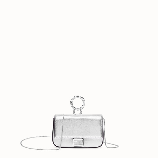 FENDI NANO BAGUETTE - Silver leather charm - view 1 small thumbnail
