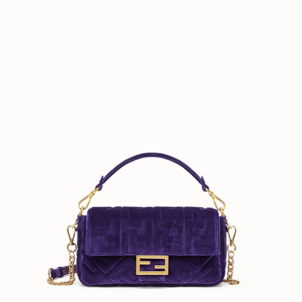 FENDI BAGUETTE - Purple velvet bag - view 1 small thumbnail
