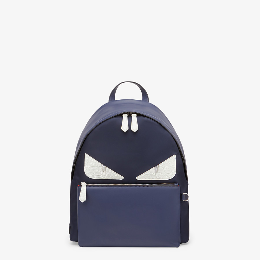 FENDI BACKPACK - Blue nylon and leather backpack - view 1 detail