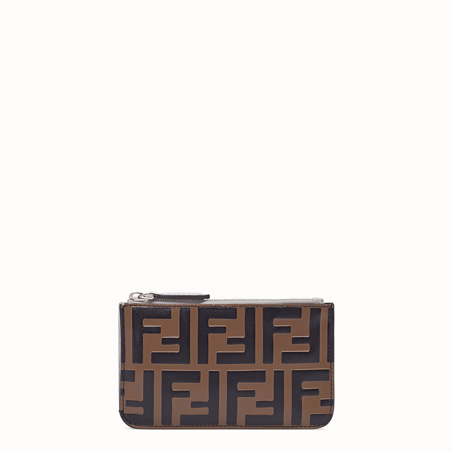 FENDI KEY CASE POUCH - Brown leather pouch - view 1 detail