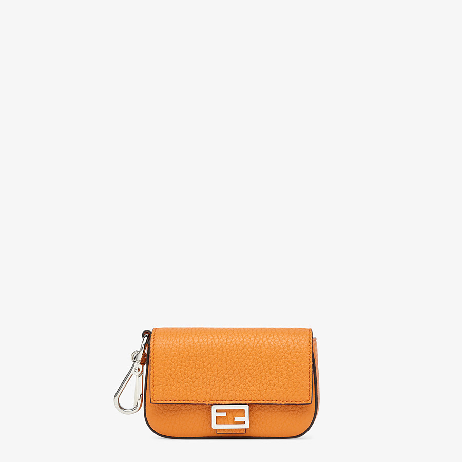 FENDI NANO BAGUETTE CHARM - Orange leather charm - view 1 detail