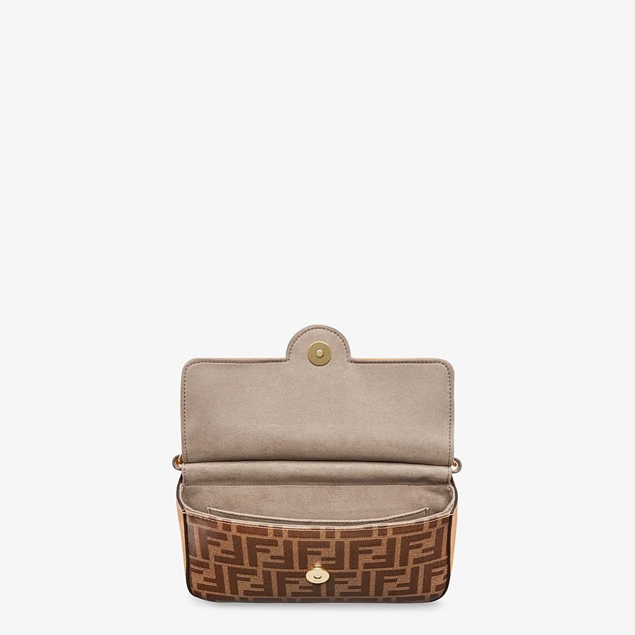 FENDI DOUBLE F SMALL - Brown leather and fabric bag - view 4 detail