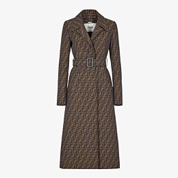 FENDI OVERCOAT - Brown canvas trench coat - view 1 thumbnail
