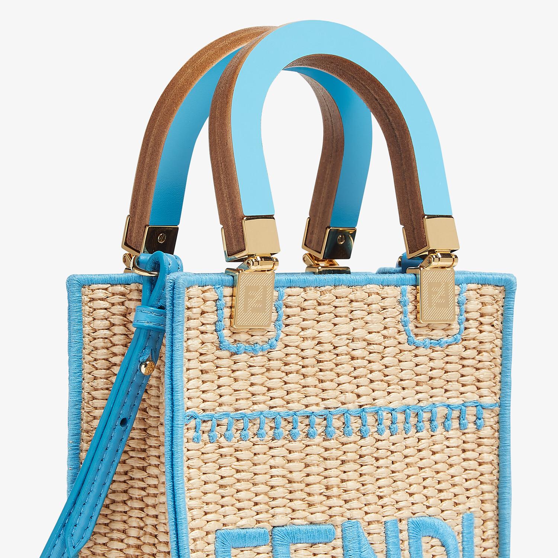FENDI MINI SUNSHINE SHOPPER - Braided straw mini-bag - view 5 detail