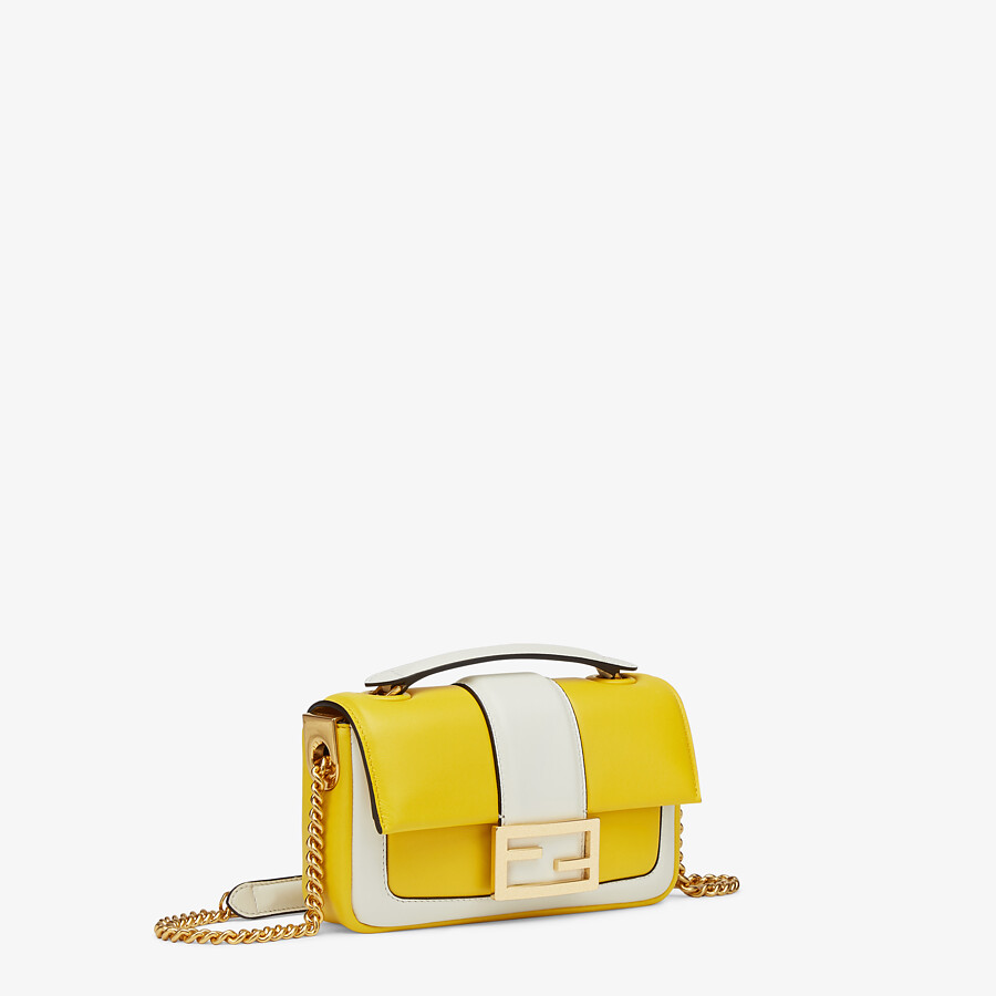 FENDI MINI BAGUETTE CHAIN - Yellow and white nappa leather bag - view 2 detail
