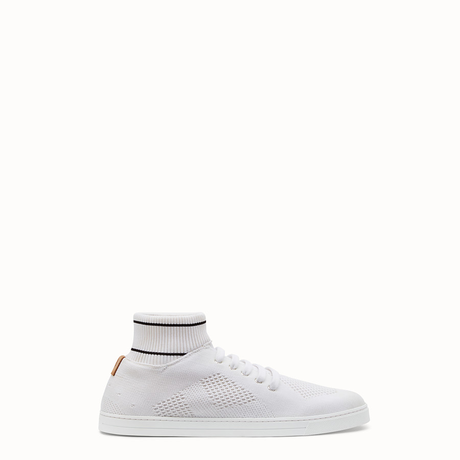 FENDI SNEAKERS - White tech knit low-tops - view 1 detail