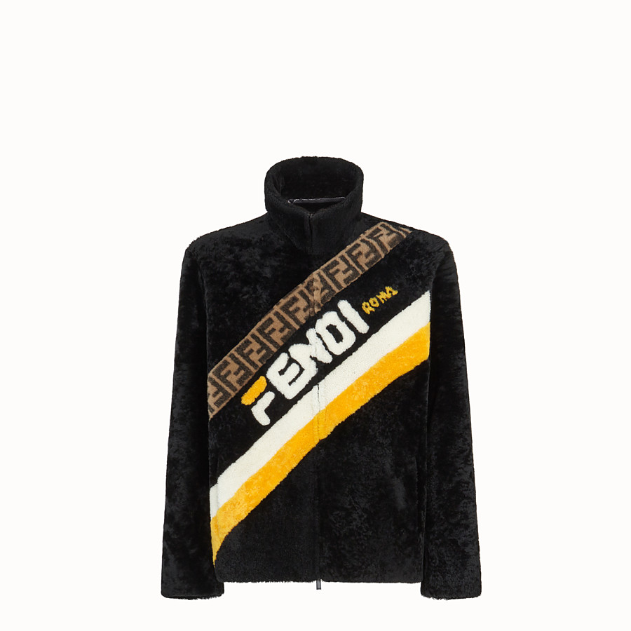 FENDI DENIM - Black sheepskin jacket - view 1 detail