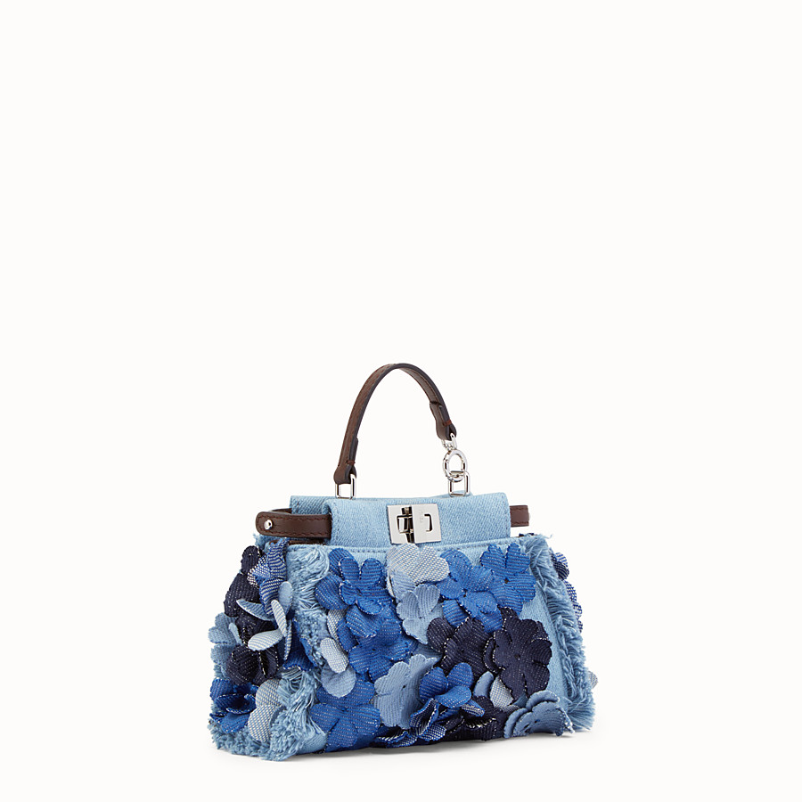 FENDI MICRO PEEKABOO - Microbag in denim fabric and flowers - view 2 detail