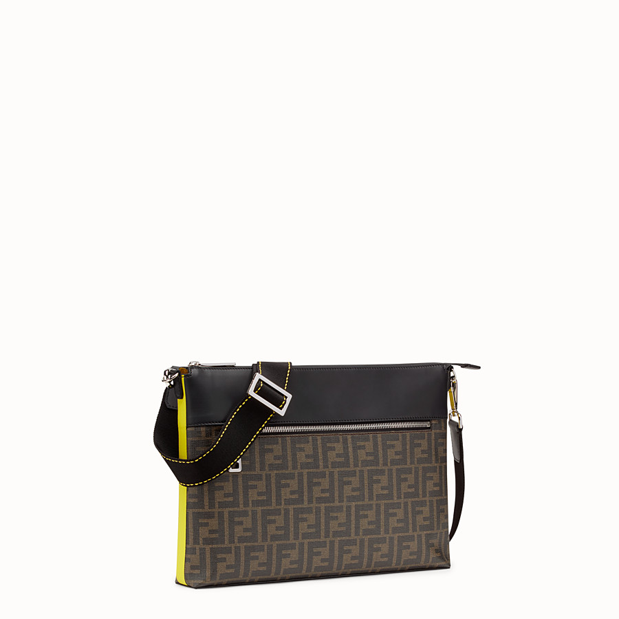 FENDI MESSENGER - Brown fabric pochette - view 2 detail